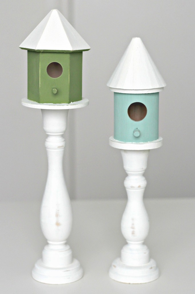 Candlestick Bird Houses blue and green