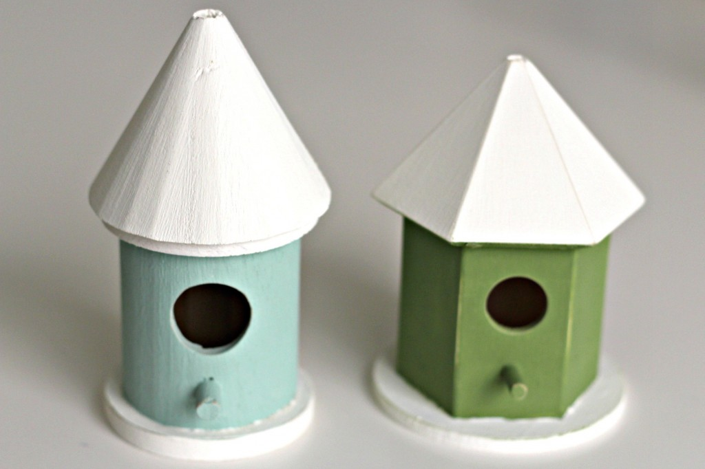Candlestick Bird Houses painted and distressed