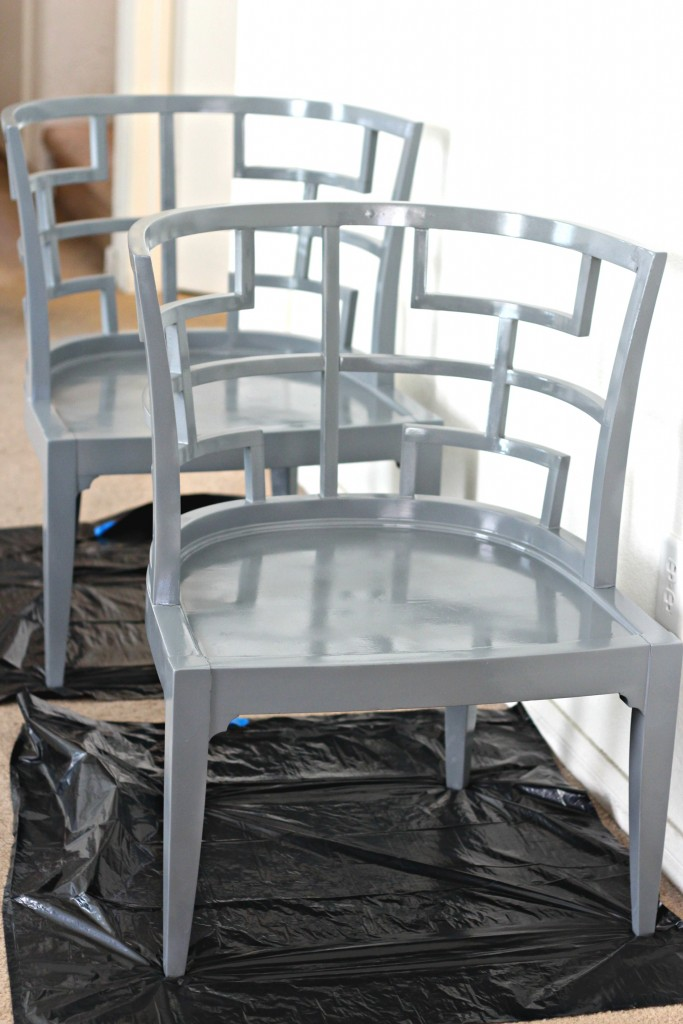 Curved Back Accent Chair Smoke Gray