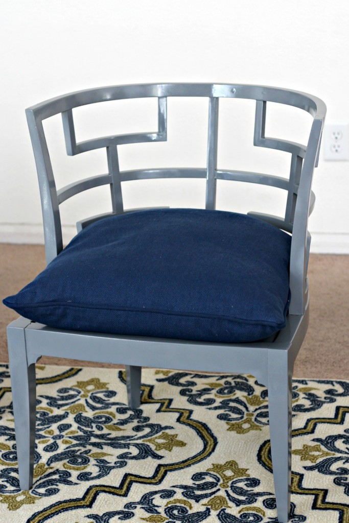 Curved Back Accent Chair painted gray