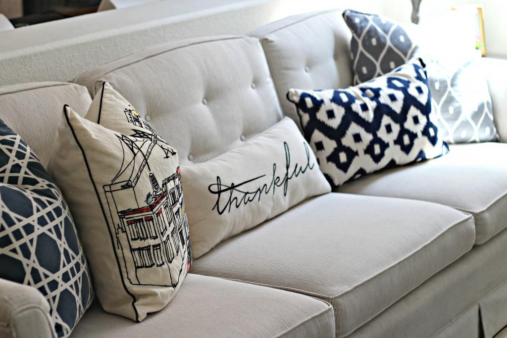 Decorating a Rental pillows and sofa