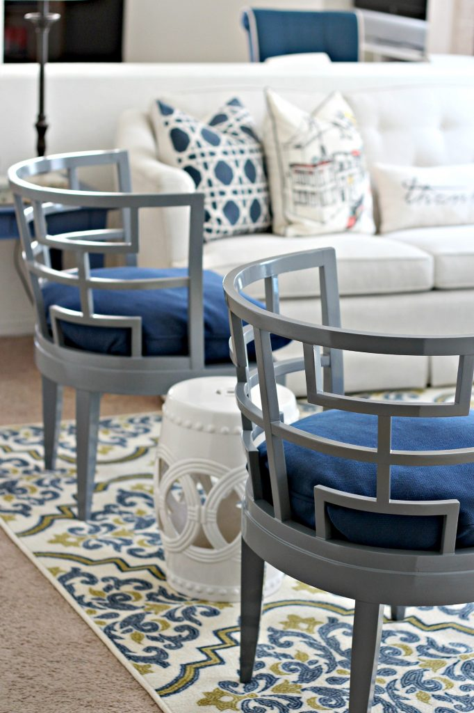 Decorating a Rental rug and painted chairs