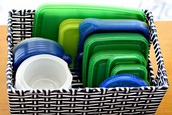 Kitchen Organizing using Baskets