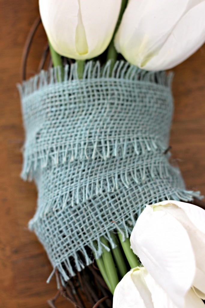 Monogram Tulip Wreath burlap ribbon