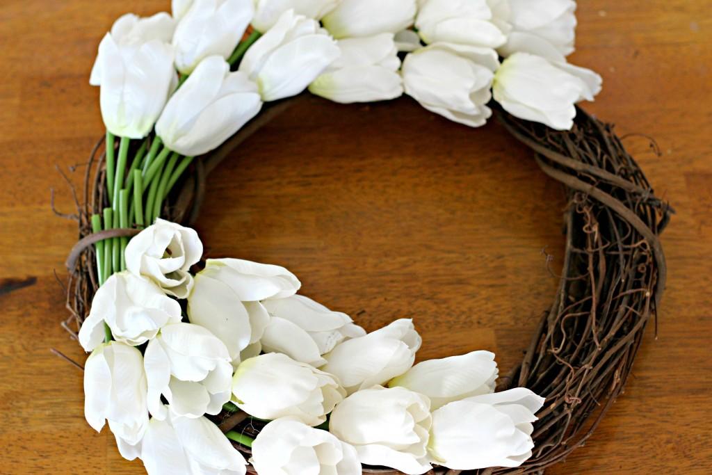 Monogram Tulip Wreath inserting tulips