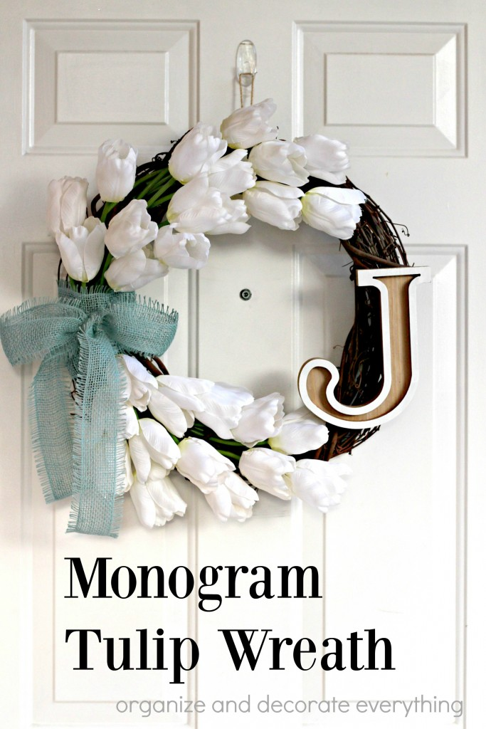 Monogram Tulip Wreath is the perfect wreath to welcome friends to your home