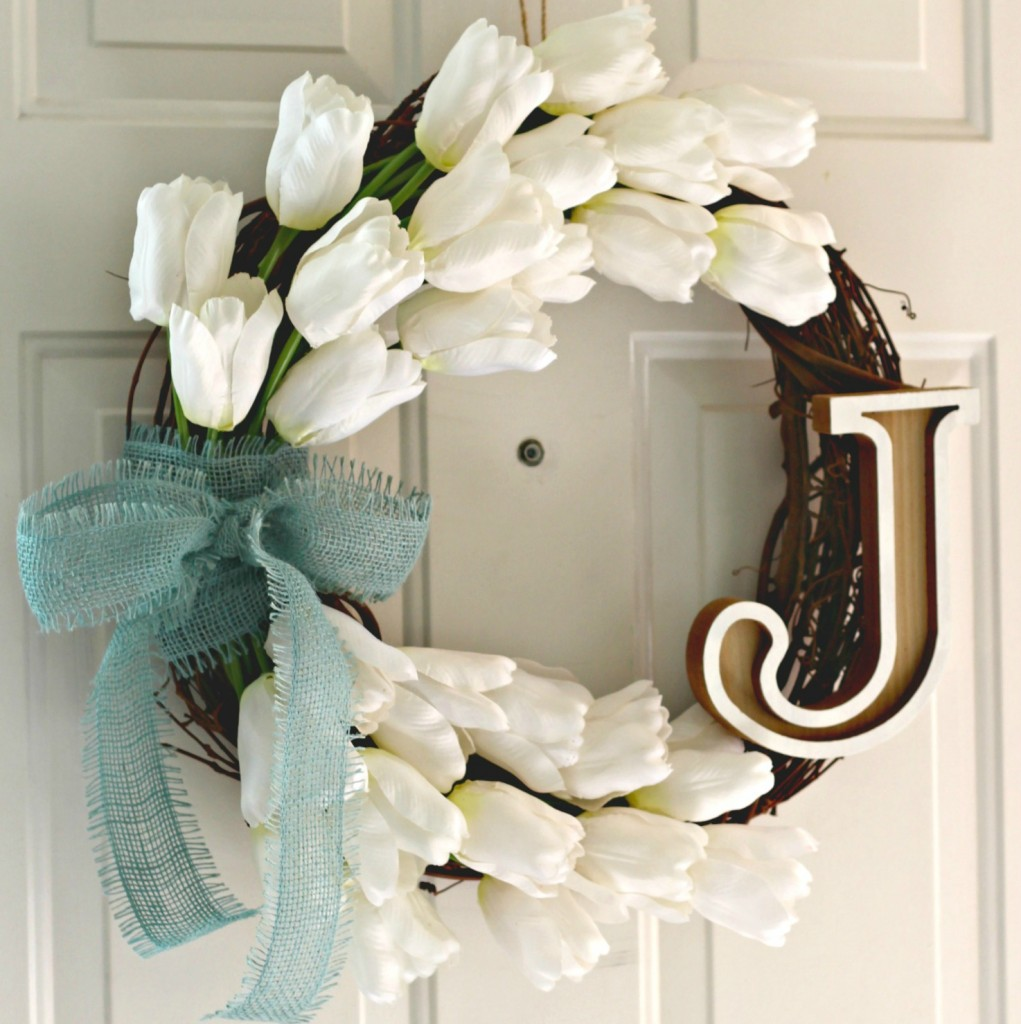 Monogram Tulip Wreath on front door facebook
