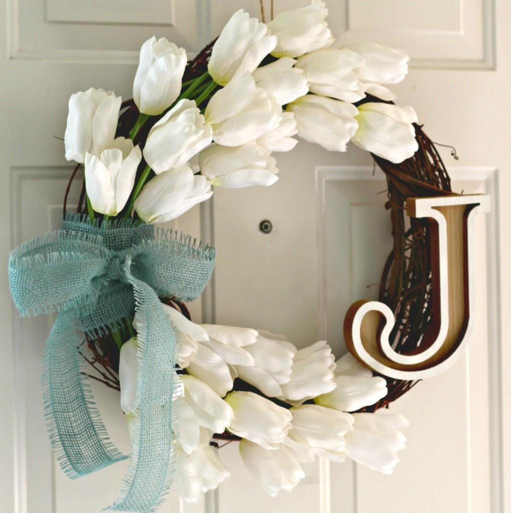 Monogram Tulip Wreath on front door facebook