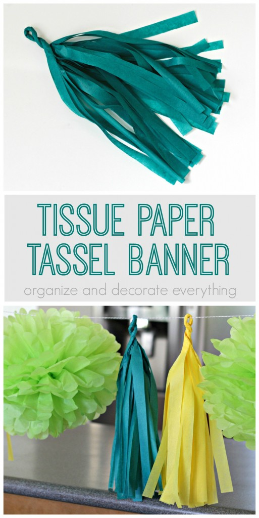 Tissue Paper Tassels make a fun banner alone or paired with pom flowers