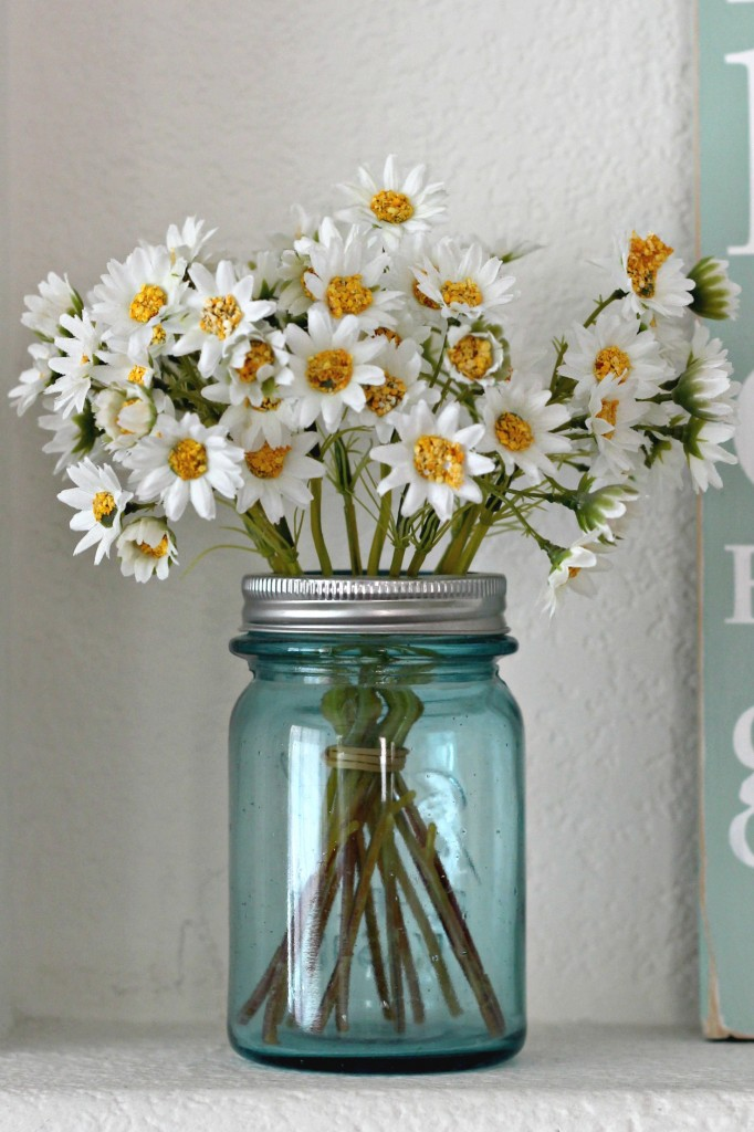 Blue Mason Jar with flowers