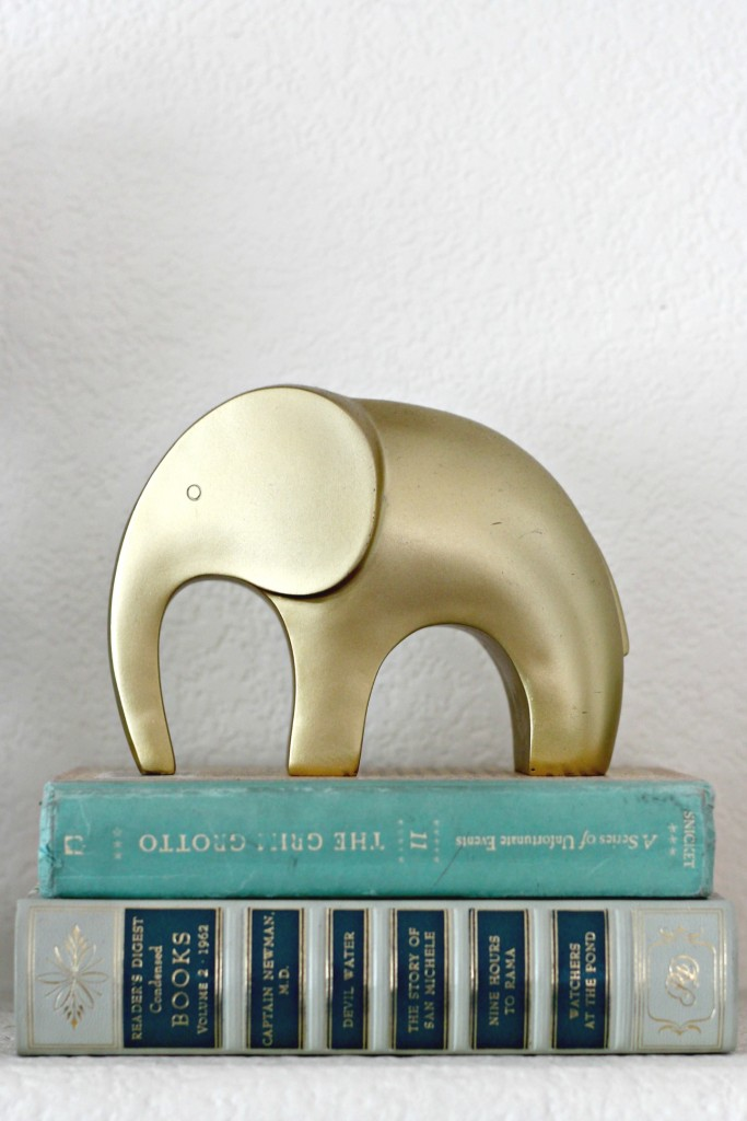 Gold Elephant on books