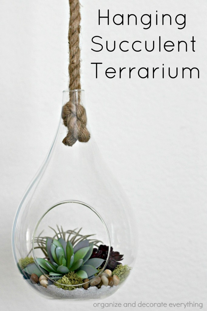 Hanging Succulent Terrarium with faux succulents