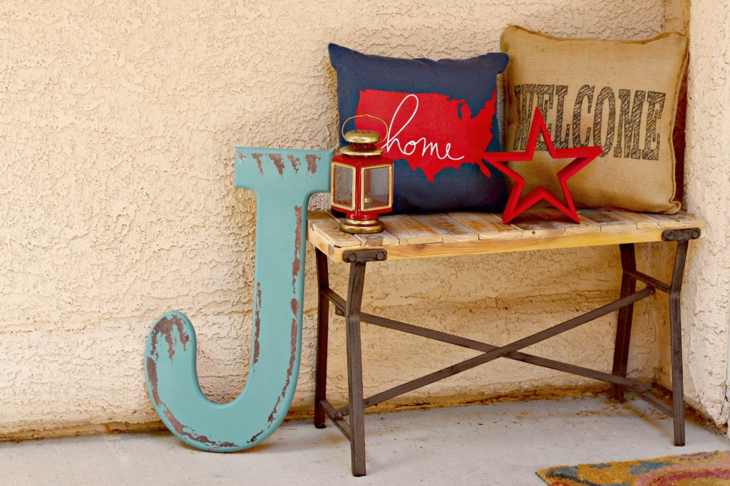 4th of July Front Porch bench