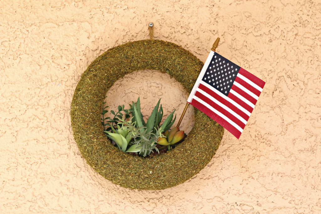 4th of July front porch succulent wreath