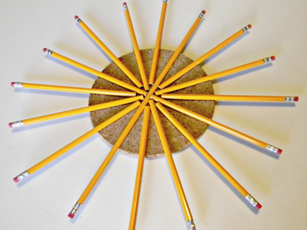 Pencil and Cork Wreath assembly