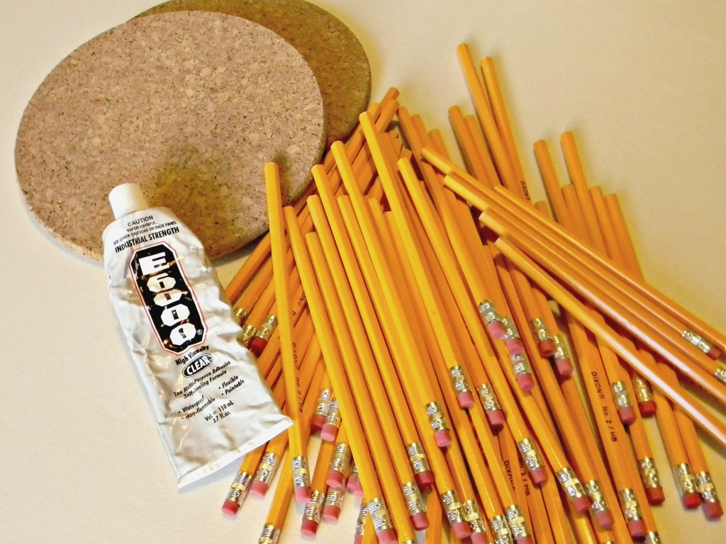 Pencil and Cork Wreath supplies