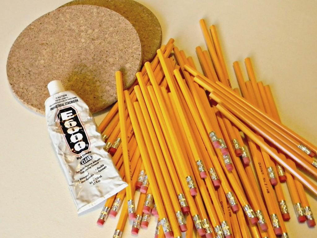 Pencil and Cork Wreath supplies