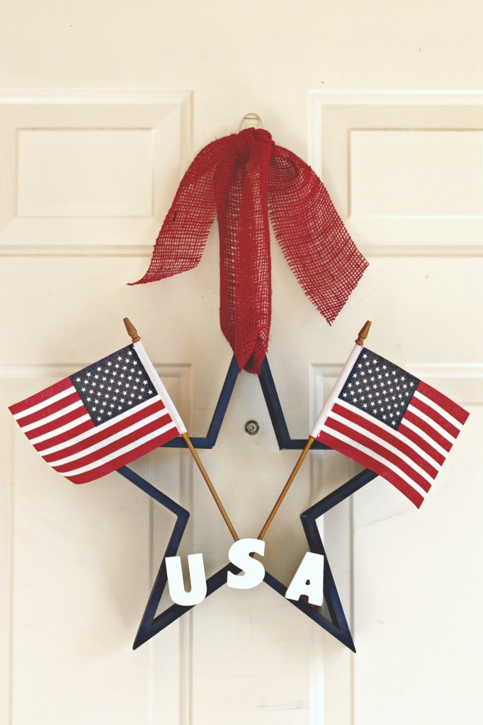 Star Wreath finished with letteres and flags