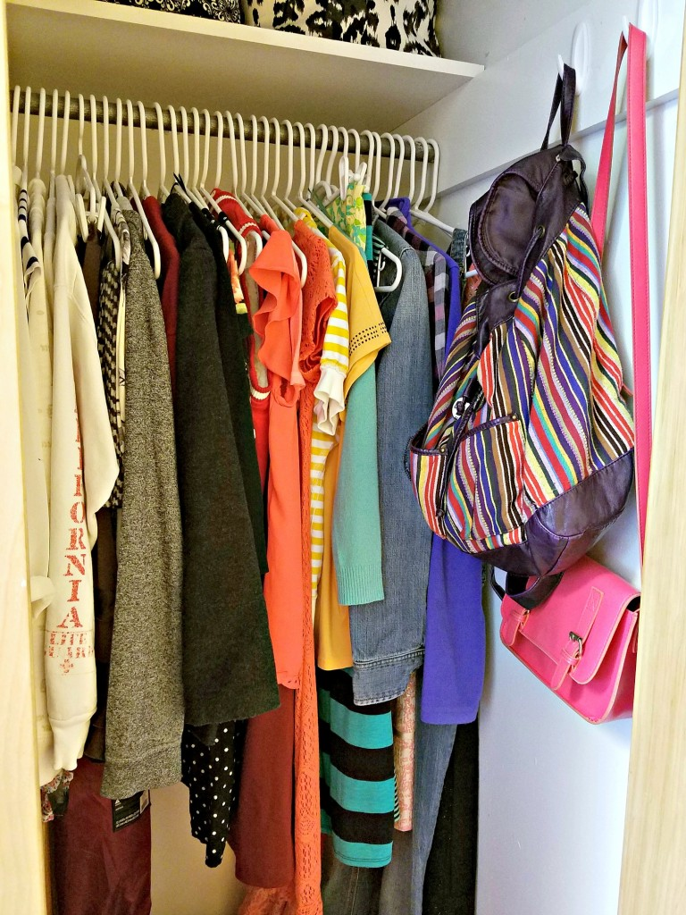 Dorm Room Closet hanging clothes
