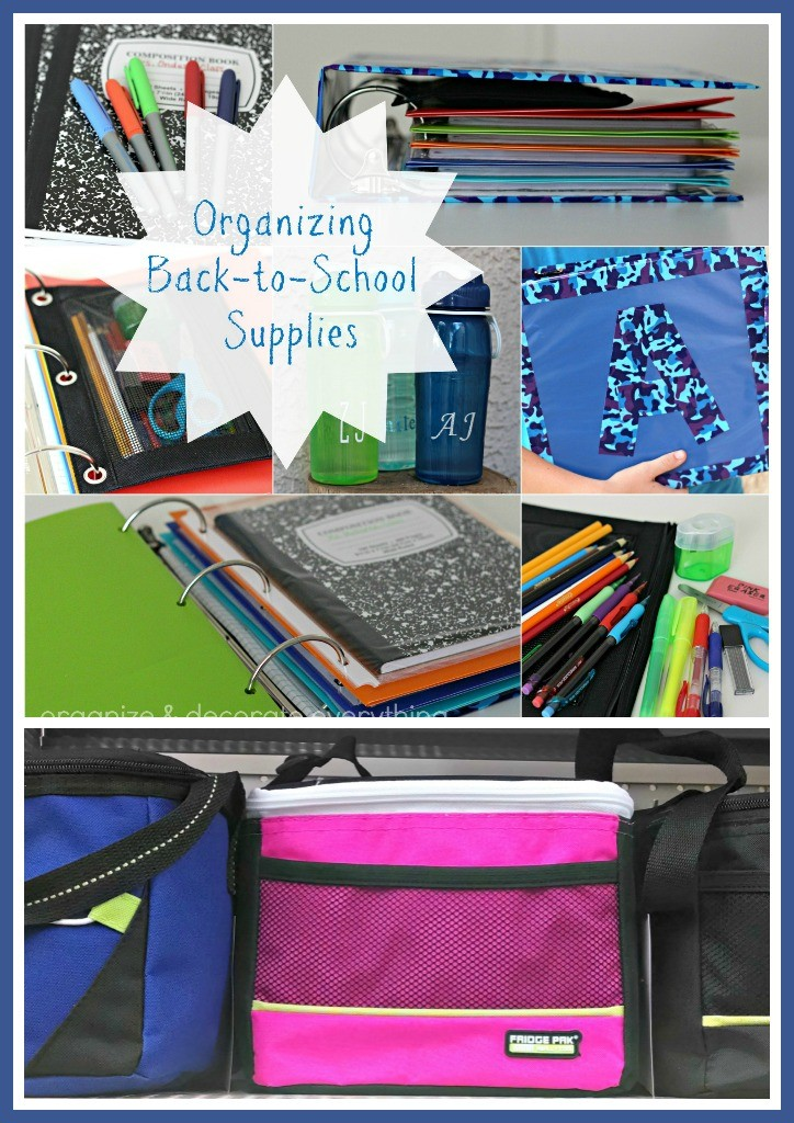 Organizing Back to School Supplies for the new school year