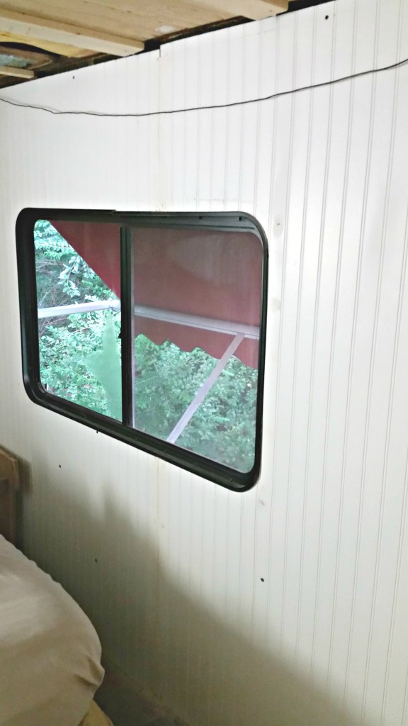 RV beadboard wall bedroom