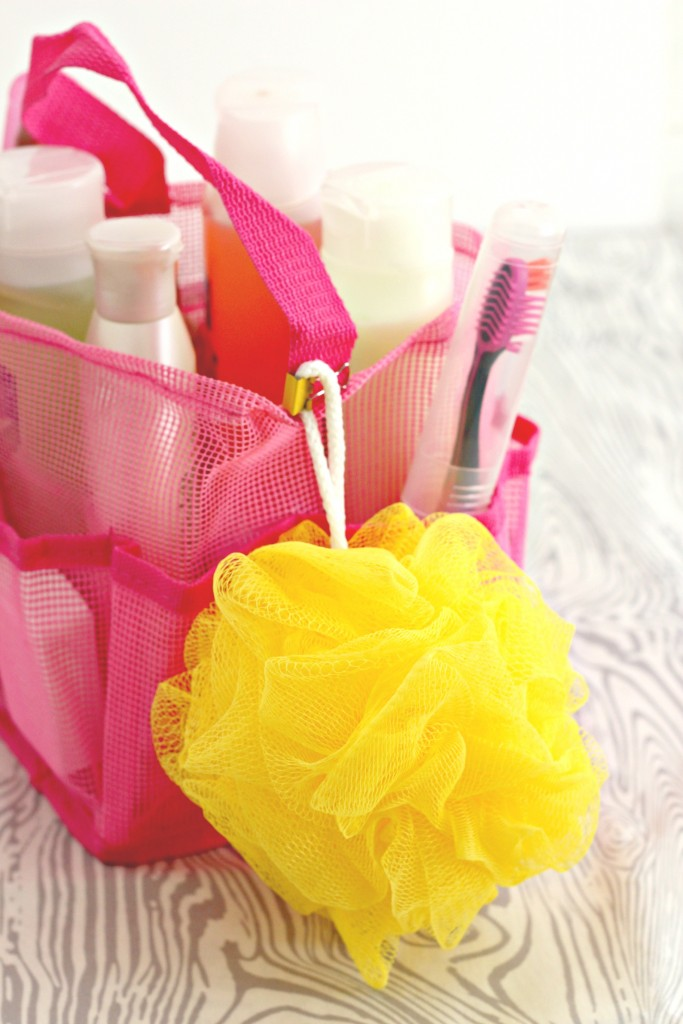 Shower caddy with poof