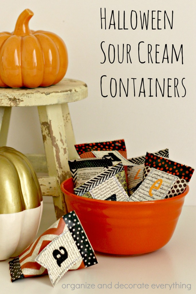 Halloween Sour Cream Containers are perfect for candy or small toys