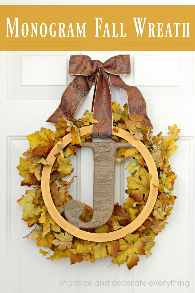 Monogram Fall Wreath to decorate your front door, in a few easy steps