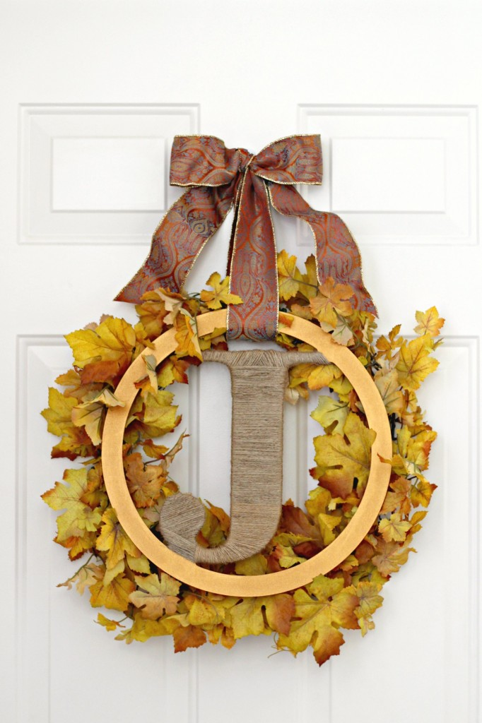 Monogram Leaves Fall Wreath