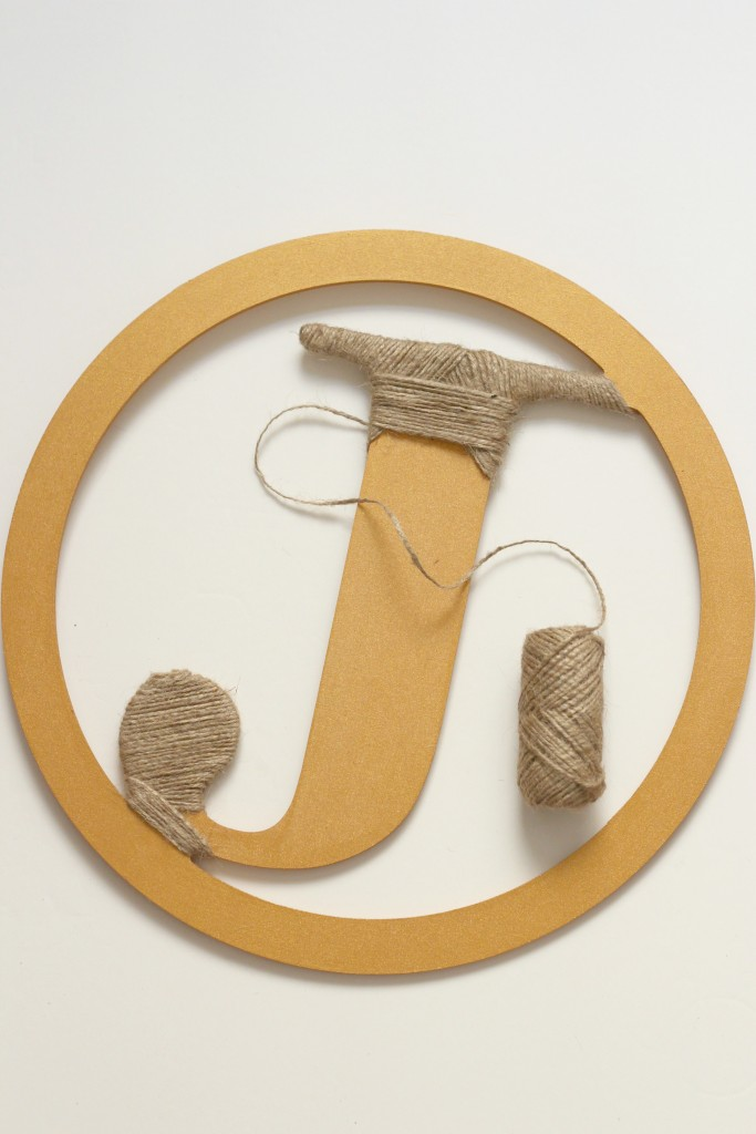 Monogram wrapped with twine