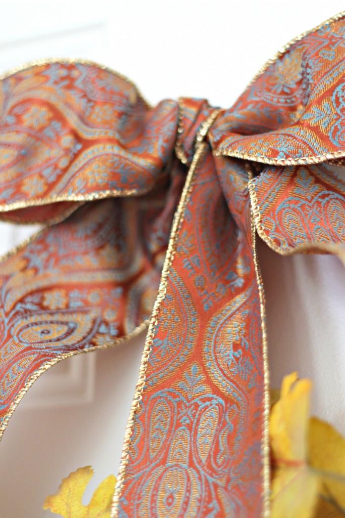Monogram wreath ribbon bow