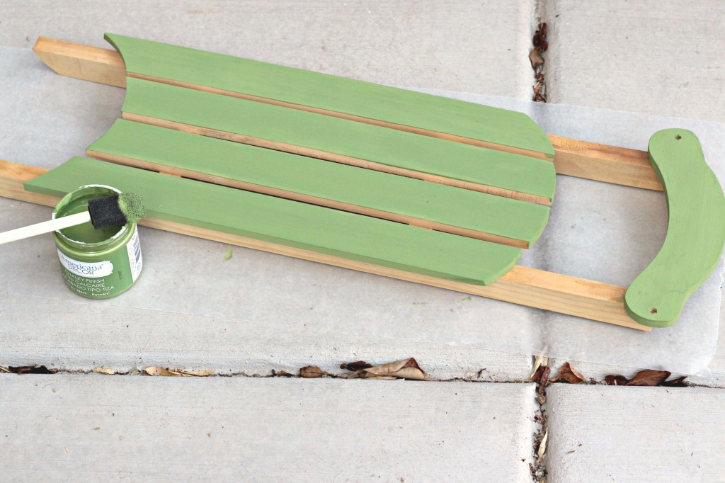 decorated-sled-green-paint