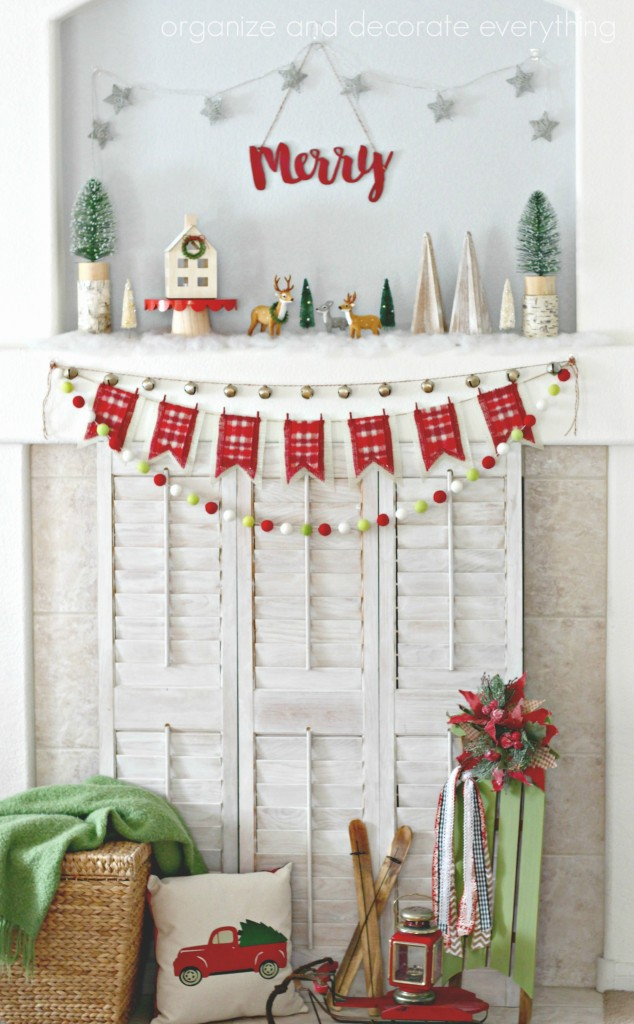 merry-woodland-mantel-red-and-green-with-a-vintage-vibe
