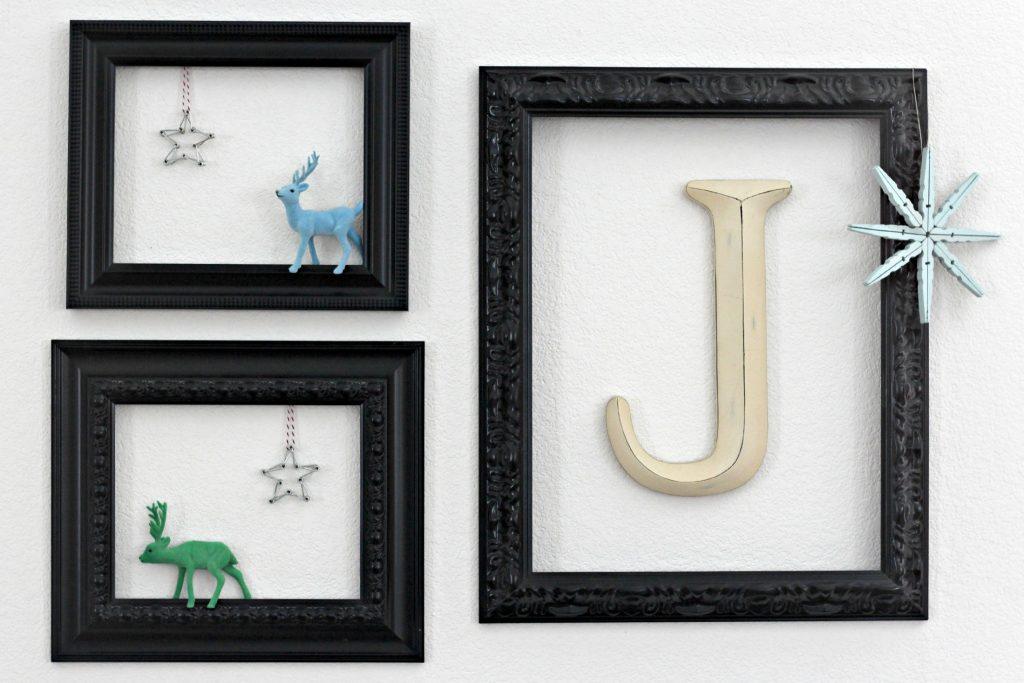 framed Christmas vignette with deer