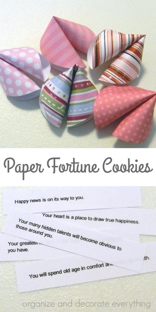 Paper Fortune Cookies for Valentine's Day or Chinese New Year