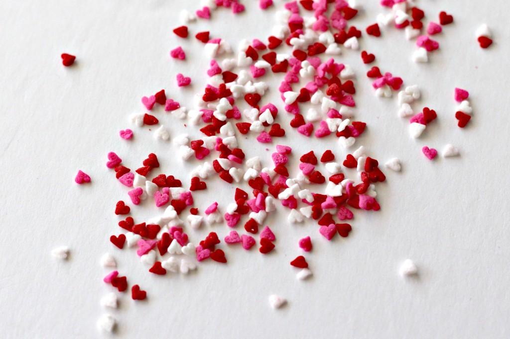 White Chocolate Dipped Cherries heart sprinkles