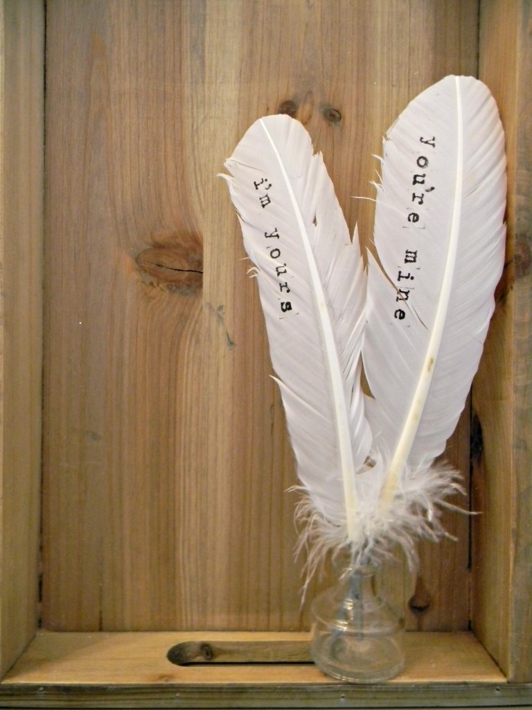creative stamped feathers