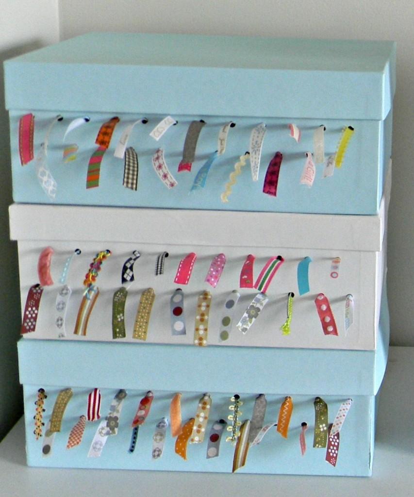 ribbon storage shoe box