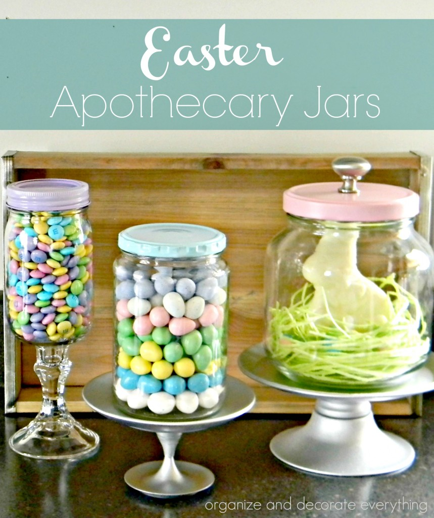 Easter Apothecary Jars using items you have around the house