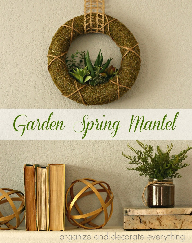 Garden Spring Mantel with gold and green accents