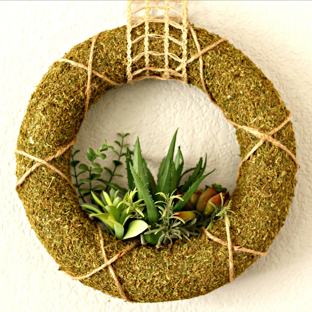Spring Mantel Moss Succulent wreath
