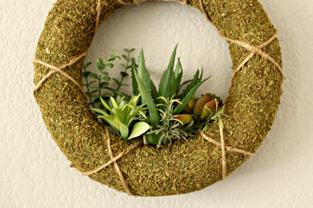 Spring Mantel succulent wreath
