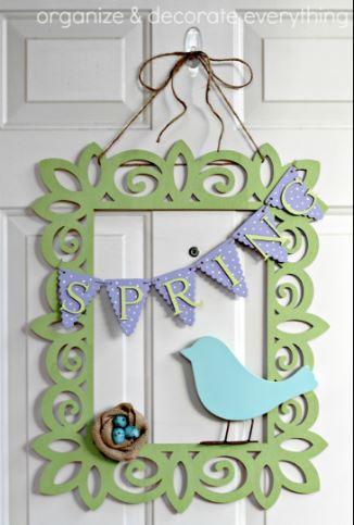 Spring Wreath Bird Frame