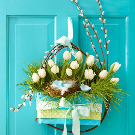 Spring Wreath Easter Basket