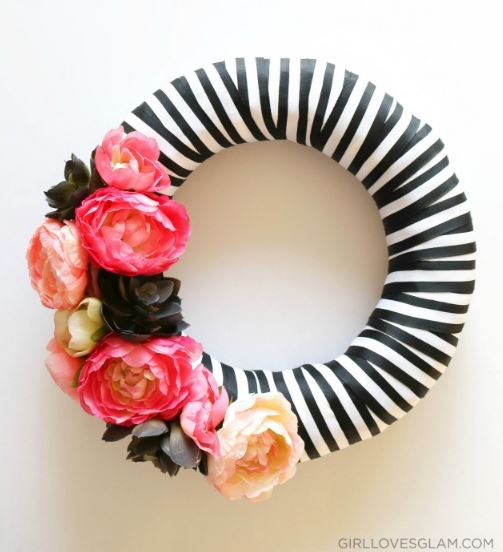 Spring Wreath Floral and Stripes
