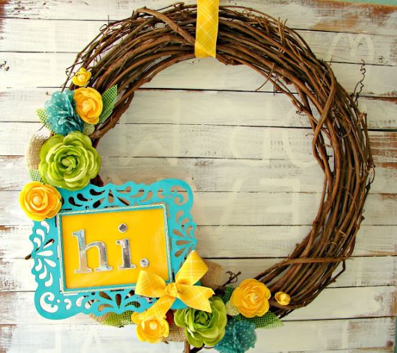 Spring Wreath Frame and Flowers
