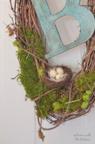 Spring Wreath Natural Monogram