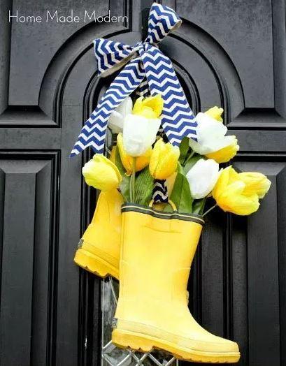 Spring Wreath Rain Boots