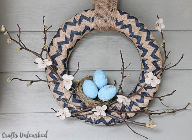 Spring Wreath Robin Eggs and Twigs