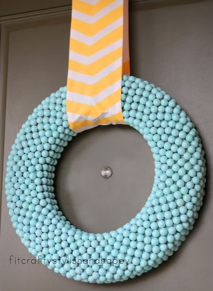 Spring Wreath Teal and Yellow